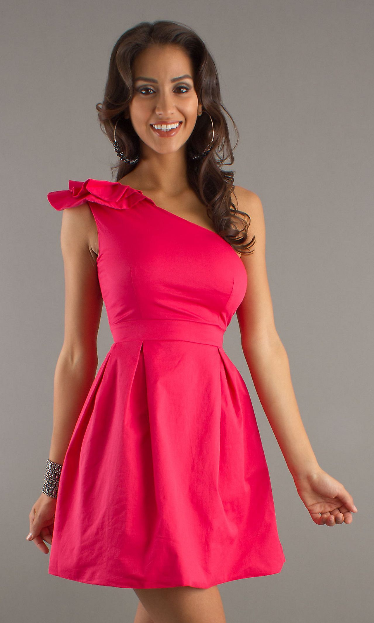Short one shoulder aline pink dress discover more ideas about