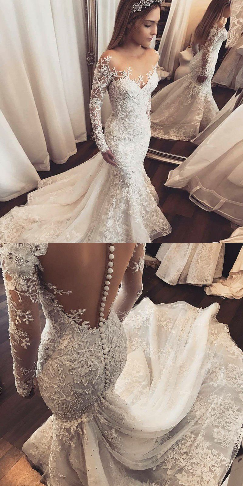 Cheap wedding dresses under 50  Mermaid Illusion Bateau Long Sleeves Tulle Wedding Dress with
