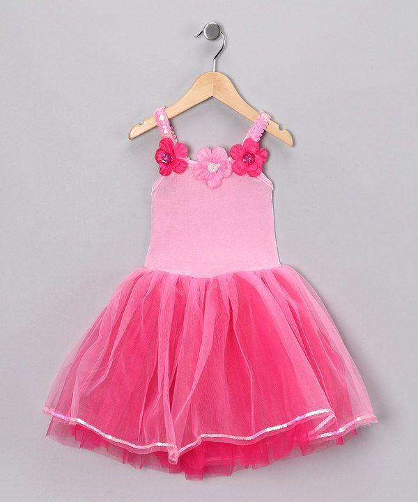 Fuchsia & Light Pink Flower Dress - Girls by Princess Expressions #zulily #zulilyfinds
