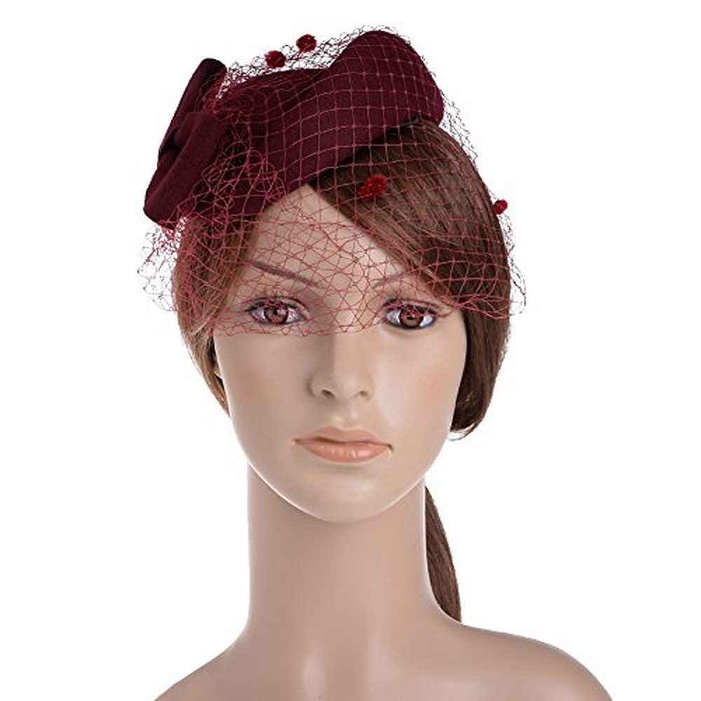 6cb429a331a Vbiger Women s Fascinator Wool Felt Pillbox Hat Cocktail Party Wedding Bow  Veil