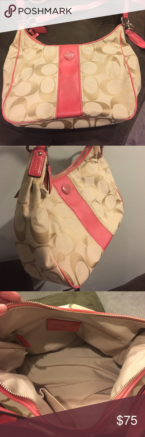 Coach handbag Excellent condition coach handbag. Has crossbody strap as well. Used just a few times. Tan and coral. Fabric. Coach Bags Shoulder Bags