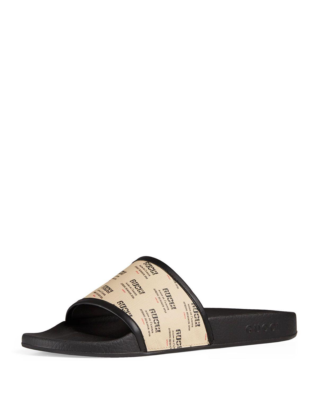 Gucci Sandals Supreme Canvas Logo Print Beige Black In White Modesens Gucci Mens Designer Shoes Gucci Leather