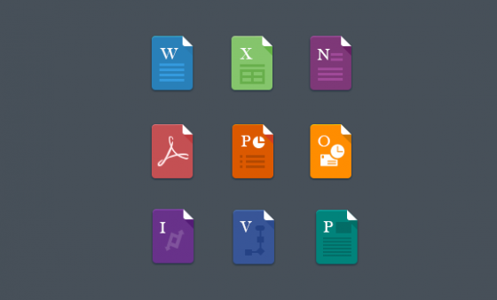Flat MS Office File Icons | Icons | Office files, Office