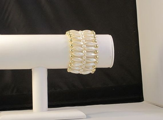 Wide Multi Strand White Oblong Pearl Bead Stretch Bracelet with Gold Accent Beads