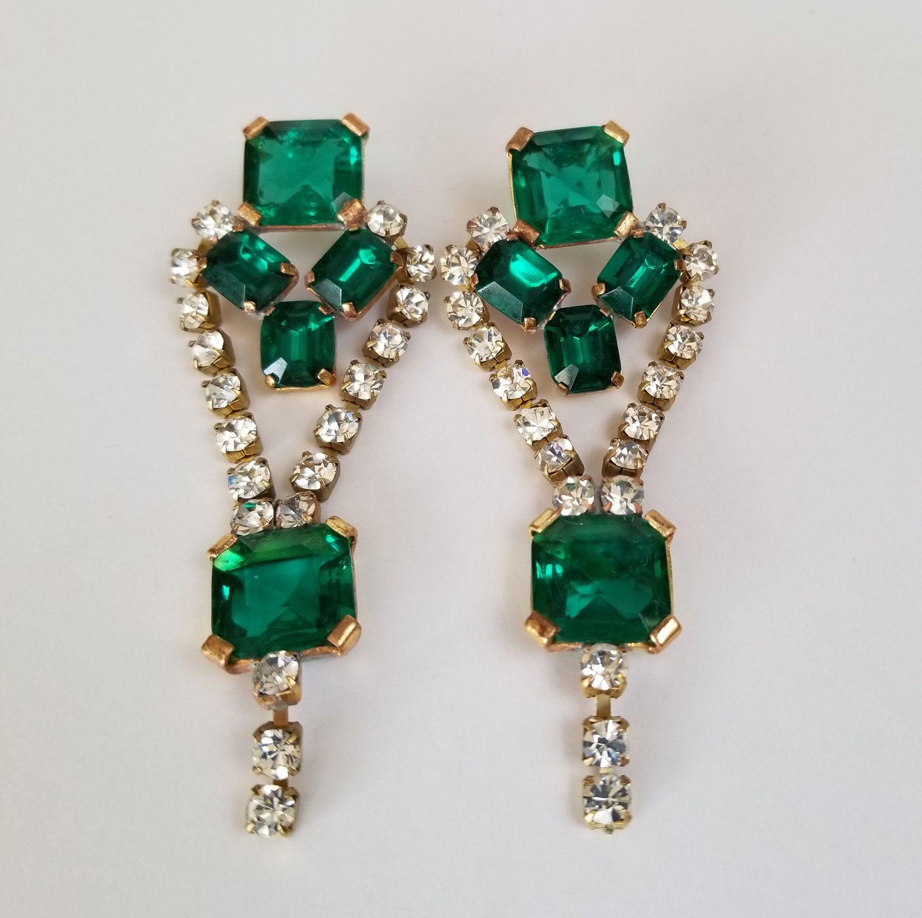 Vintage Rhinestone Dangling Pierced Earrings