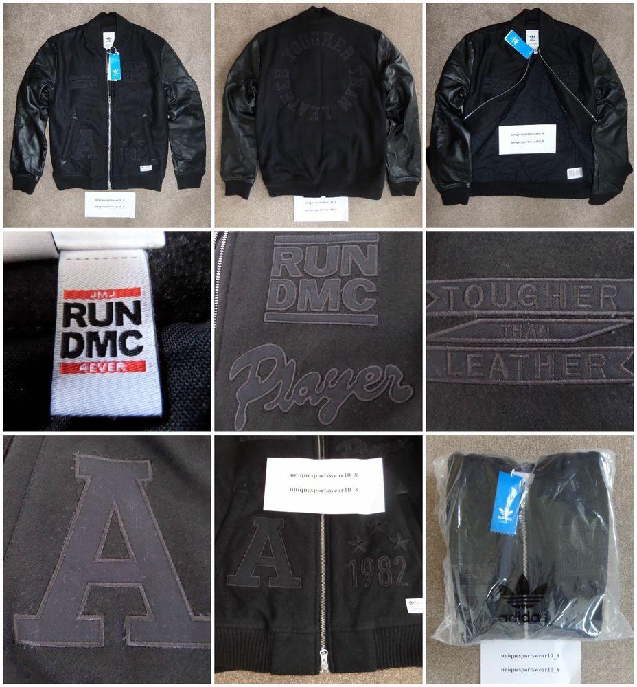 Adidas originals run dmc leather bomber jacket m coat destroyer