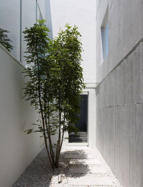 I love how the natural green tree go with the hard human - Takanawa house by o f d hiroyuki ito ...