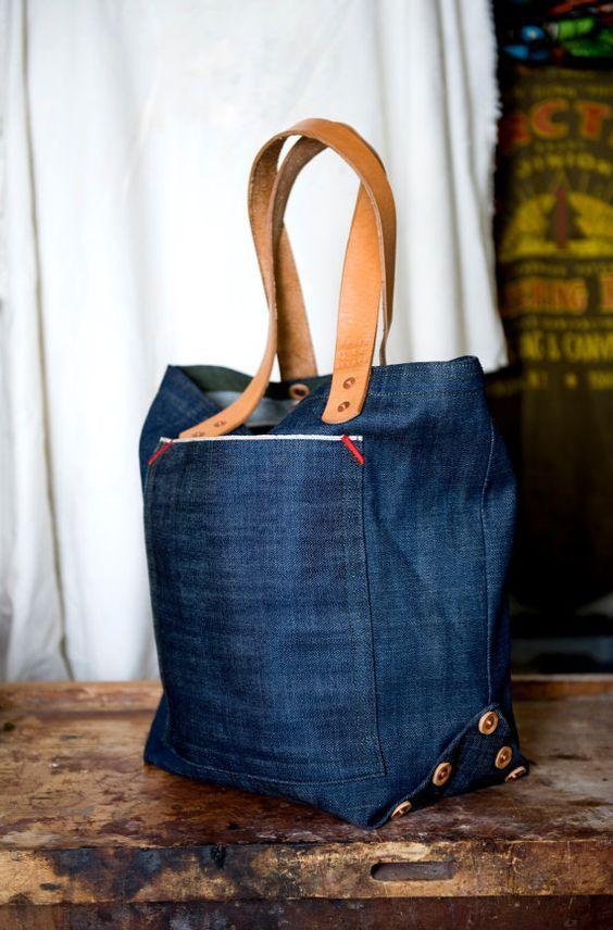 Medium selvedge denim tote bag by HorseAndAnchor on Etsy, $180.00: