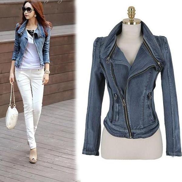 Slim Fit Zipper Long Sleeved Women s Denim Jacket  onlineshopping  girls   fashion  outfits  ohyoursfashion cb84e078fc2