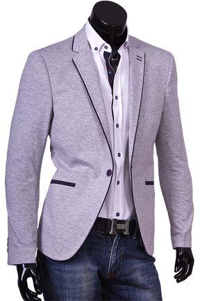 Купить Серый пиджак под джинсы фото недорого в Москве   Приталенные ... 3646a5e159e