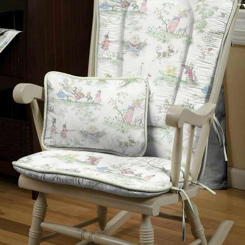 Nursery Rhyme Toile Sage Decorative Pillow Rectangular Rocking Chair Coversrocking