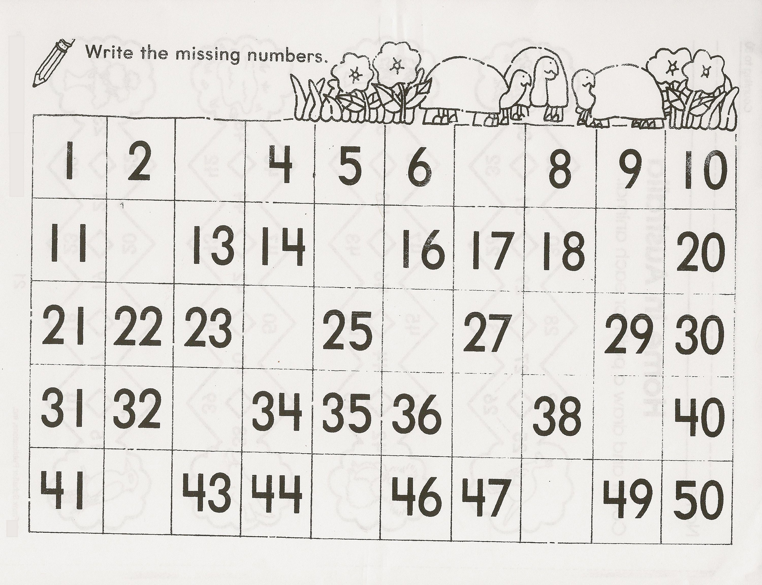 Number Chart 1 50 For Kids In