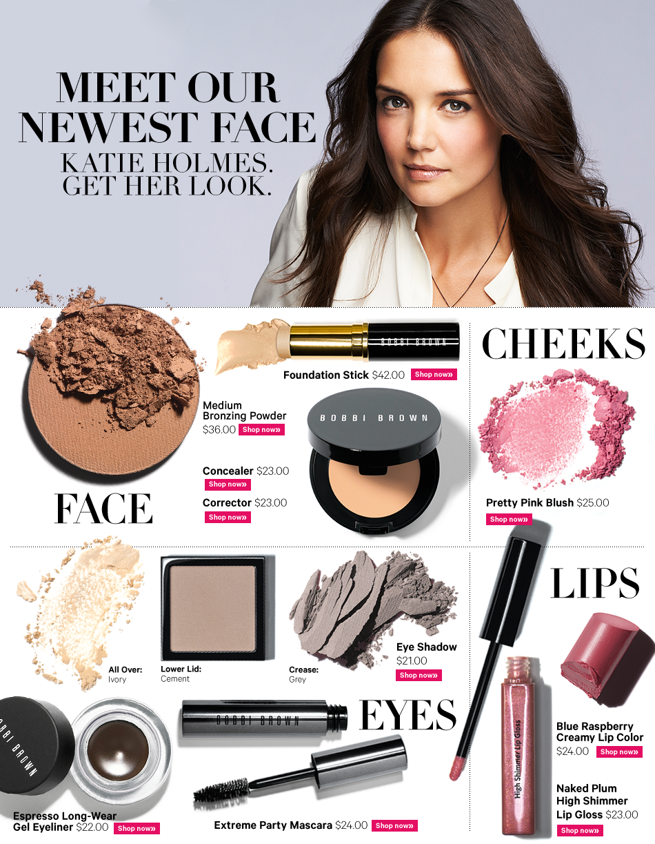 Katie Holmes the new face of Bobbi Brown cosmetics