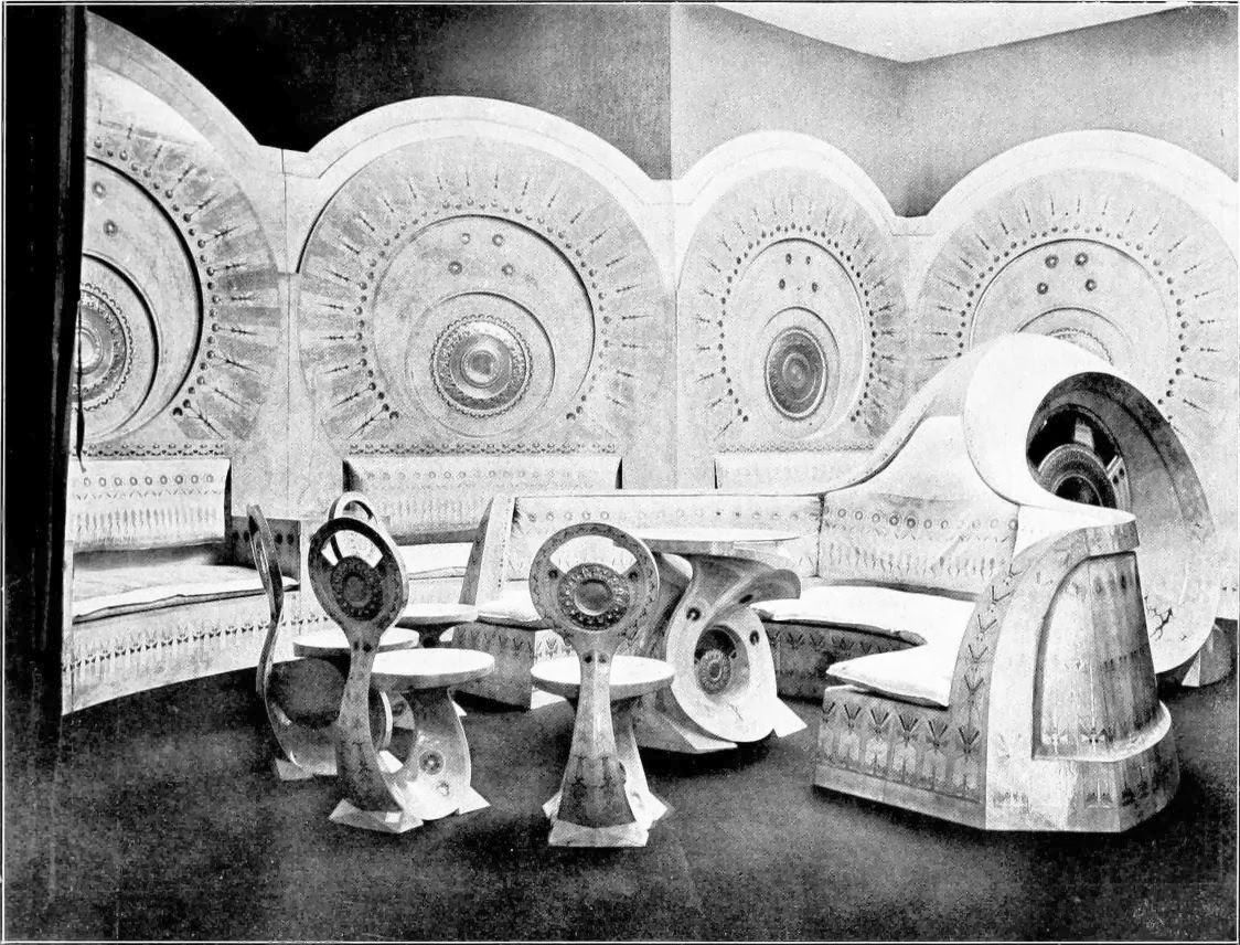 Furniture Sets And Rooms Created By Italian Designer Carlo Bugatti Early 1900 S Bugatti Born 1856 Wa Art Nouveau Interior Art Nouveau Furniture Art Nouveau