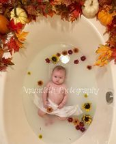 Anameleth Photography Fall Flowers Pumpkin Milk Bath Baby Photo  #Anameleth #baby #Bath #Fal #fallmilkbath