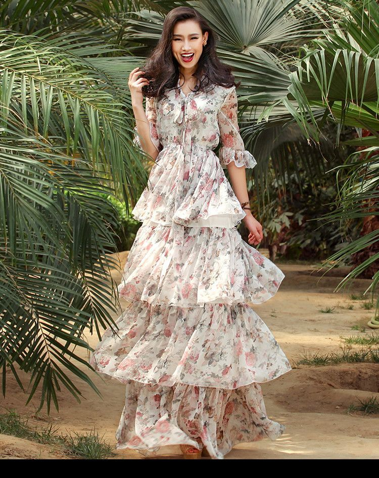 Verragee Women Summer Autumn Long Dress Layer Floral Print Chiffon Dress V  Neck Party Dresses Long Casual Maxi Plus Size Dress 09c7be11b