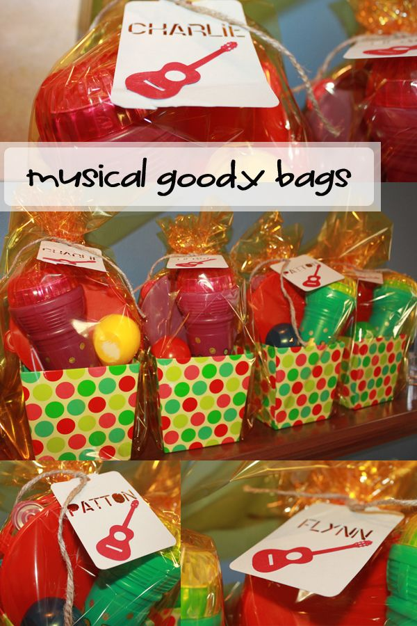 Musical themed goody bags music birthday party Bloom