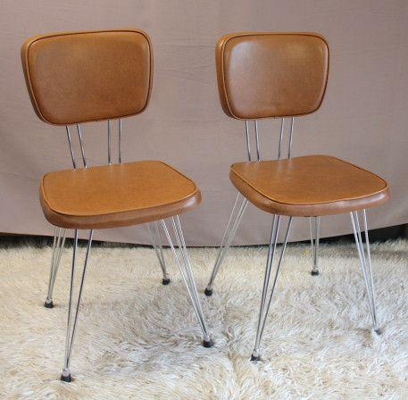 Duo De Chaises Pieds Eiffel Vintage Vintagestyle Chair Skai