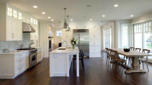 Open Kitchen Design With White Kitchen Cabinets White