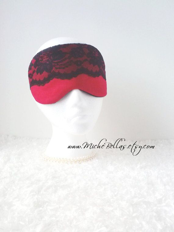 Couture Linen & Lace Mask ~ Red/Black ~ for Travel, Sleep, etc. ~ Bridal Party, Evening Wear, Gift