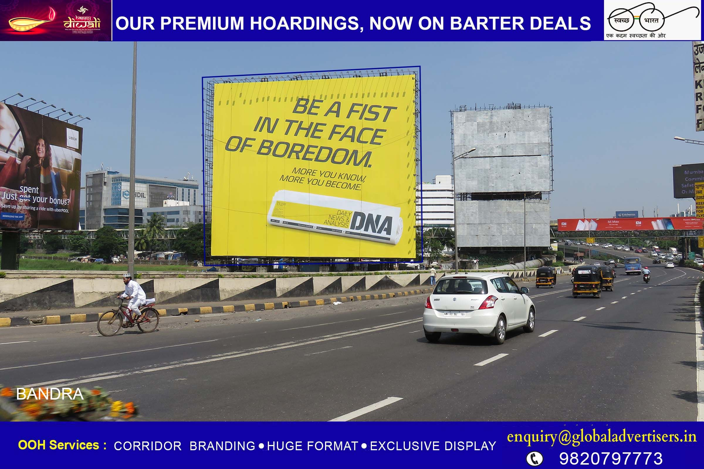 Global Advertisers engages hoardings for DNA.  #OutdoorMedia #OOH #Promotion #Advertising