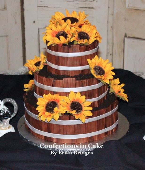 Sunflower Wedding Cake Ideas: Sunflower Bushel Basket Wedding Cake