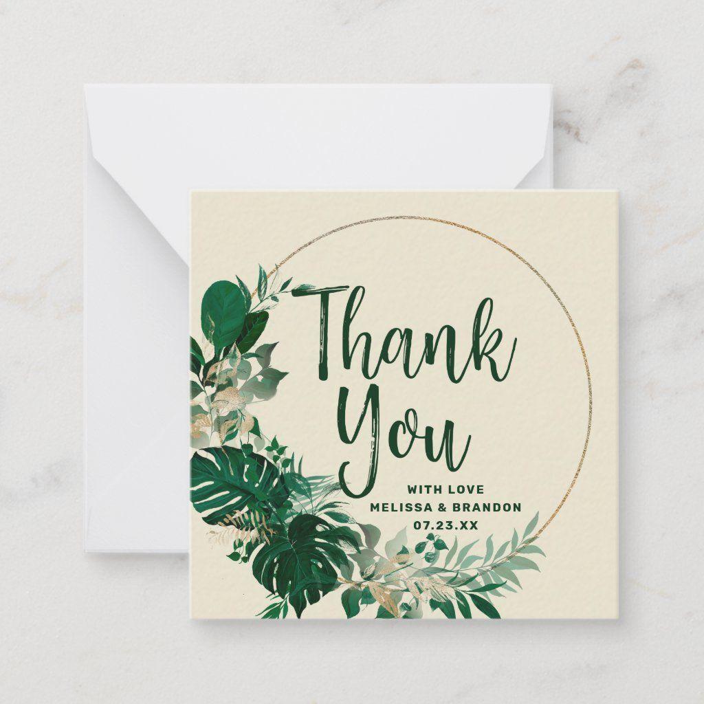 Palm leaf prin Tropical Thank you card palm thank you card boho wedding thank you card greenery card Tropical wedding thank you card