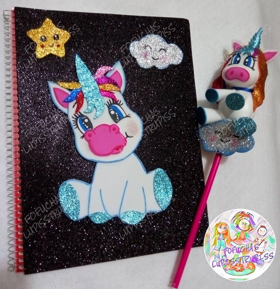Fofulapiz con libreta de unicornio decoracion en fomy for Decoracion con goma eva