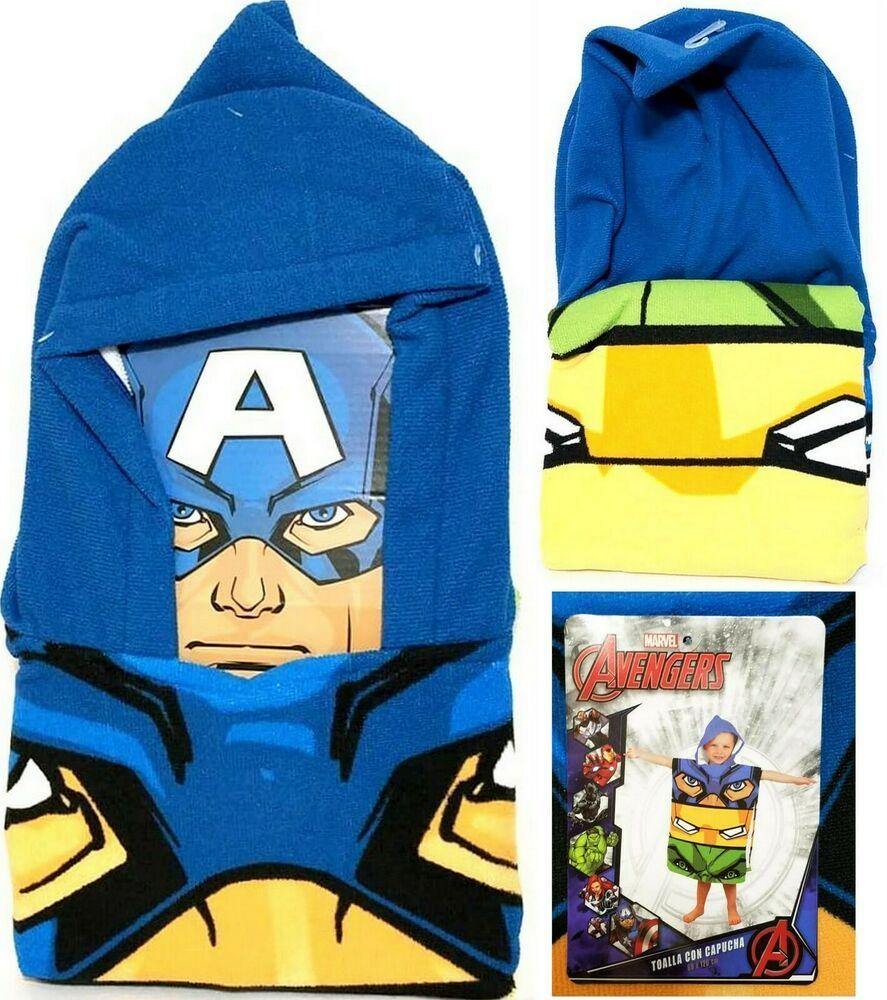 Marvel Avengers Kids Hooded Poncho Beach Bath Towel 60 X 120 Cm