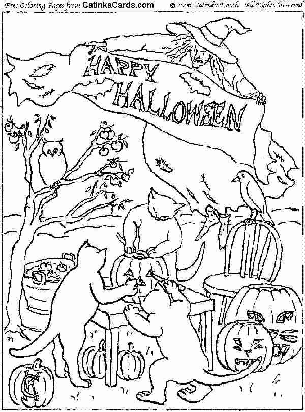 Halloween Pumpkin And Cat Coloring Pages 6