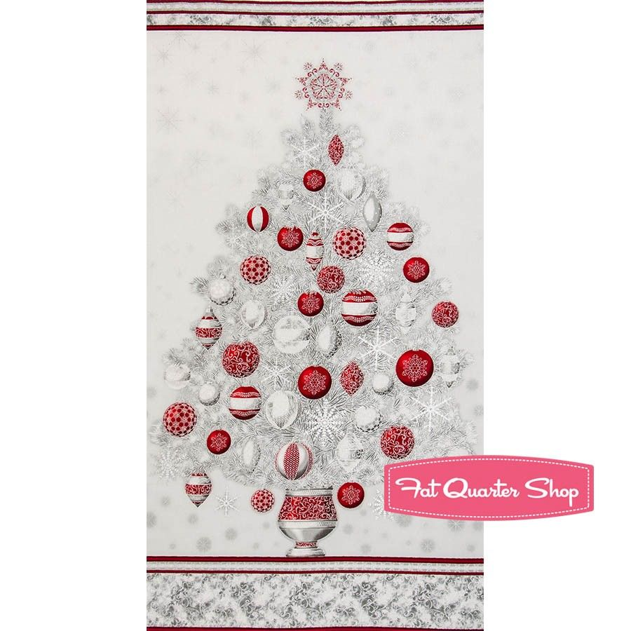 Winterus grandeur winter ornamental tree quilt panel ucbruesku