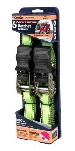 Allied International 84001 CargoLoc 6-Foot Extreme Heavy Duty Ratchet Tie Downs, 2-Pack by Allied International. $18.63. From the Manufacturer                1800 lbs rated capacity. DuraWeb: High strength, low elongation. Thermo-dyed webbing for optimum performance. Cut and abrasion resistant. Weather and moisture resistant.                                    Product Description                1800 lbs rated capacity. DuraWeb: High strength, low elongation. Thermo-dyed...