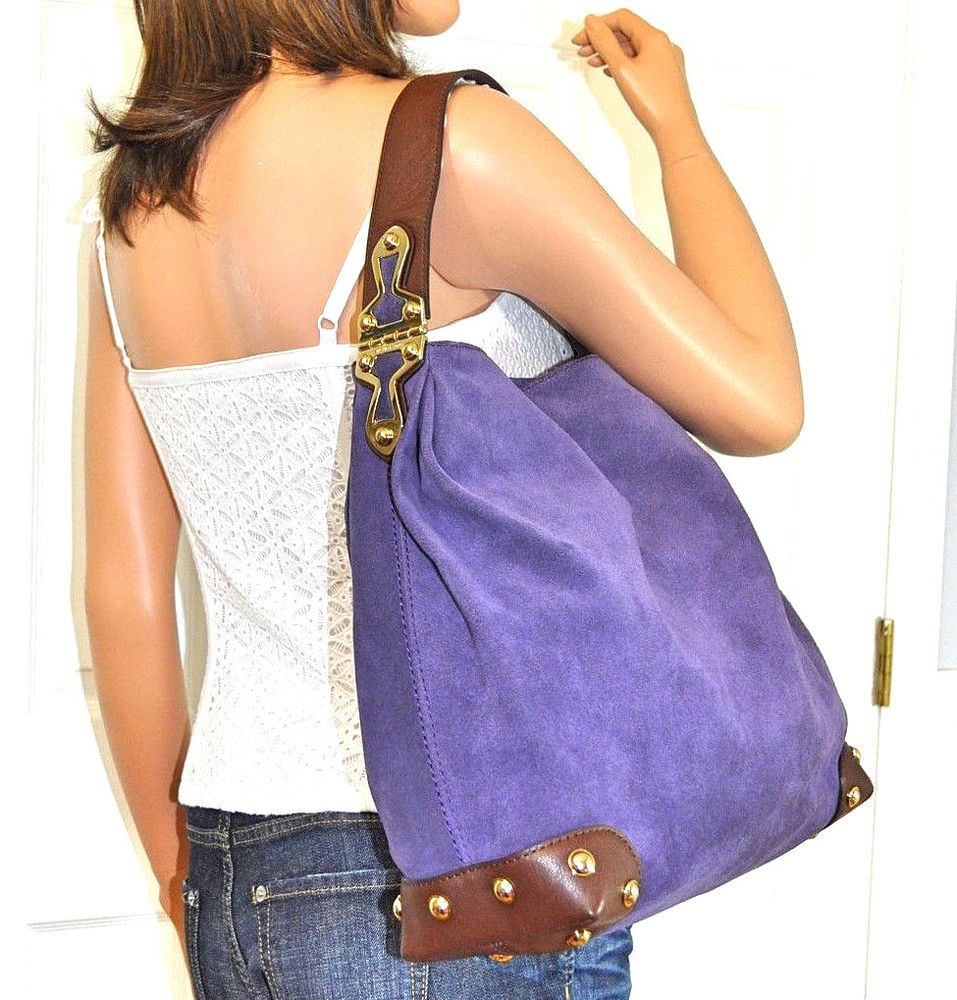 b4fb50451cfb MICHAEL KORS Joplin Hobo Purple Suede Leather Shoulder Bag Tote Bag Purse  NWT…