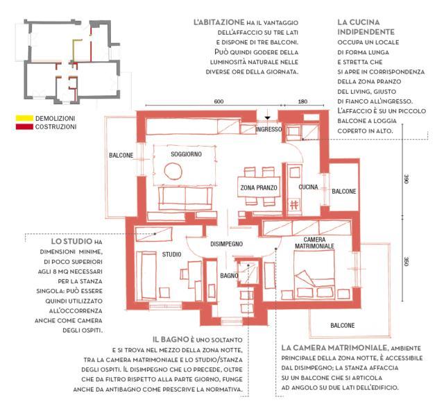 Trilocale di 67 mq, casa moderna con pezzi di famiglia nel