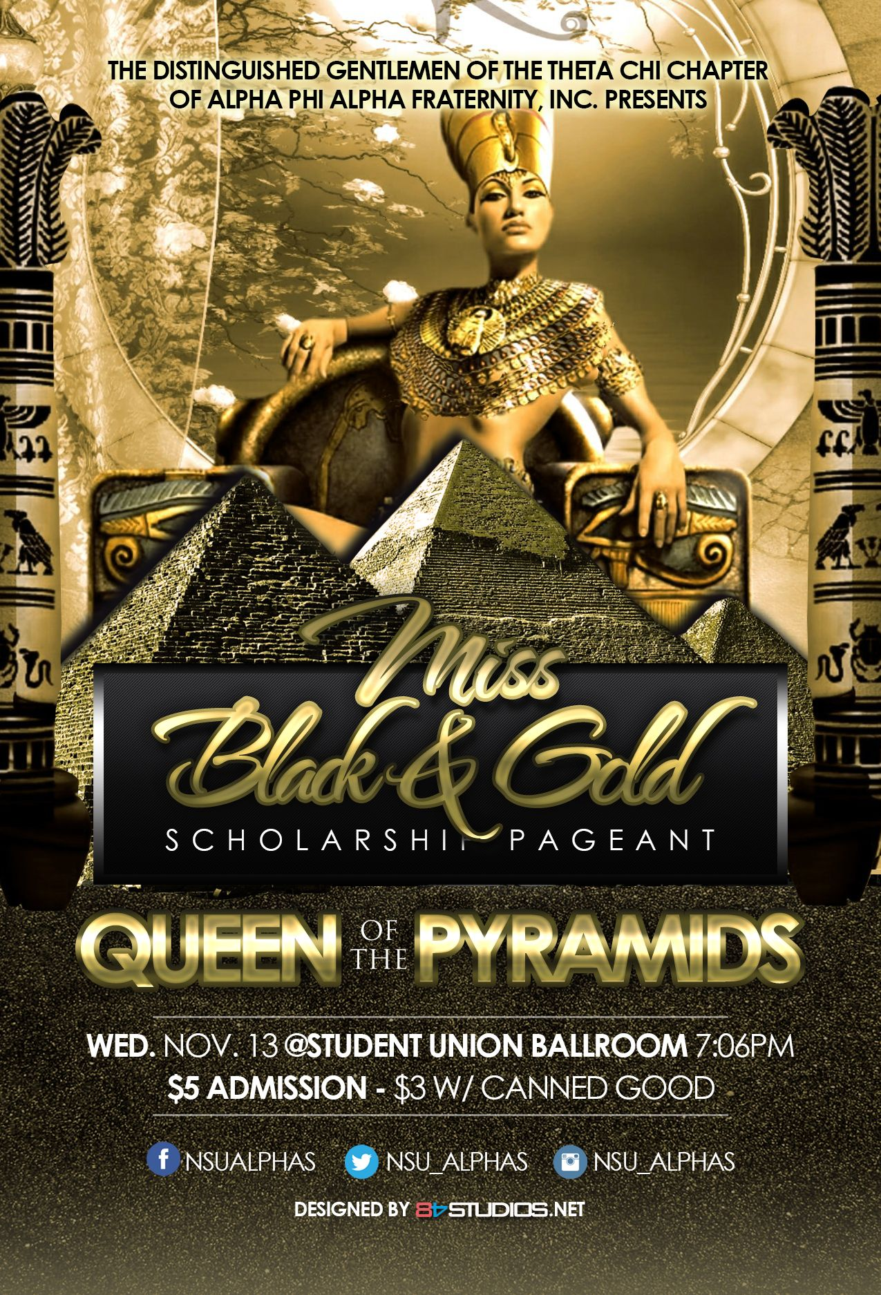 flyer design for the nsu alphas  miss black and gold