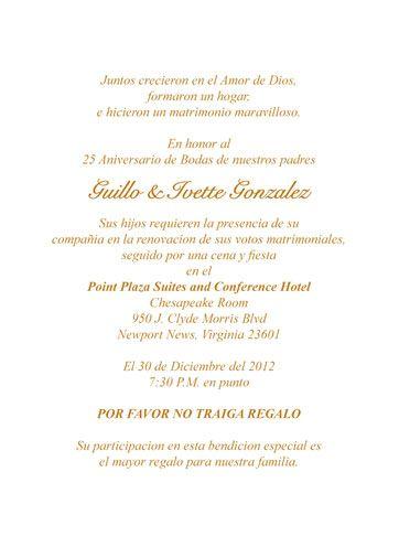 Wedding Anniversary Invitation In Spanish Google Search Quinceanera Invitation Wording Invitation Wording Anniversary Invitations