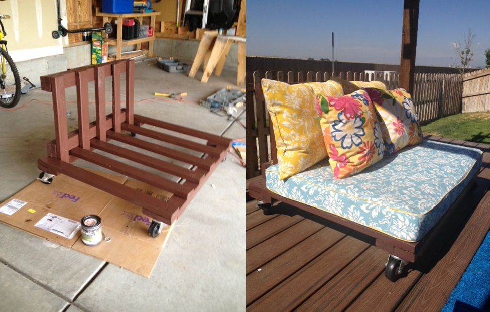 This Is A Outdoor Futon I Made From Two Pallets I Then Upholstered Foam For The Cushions An Pallet Furniture Outdoor Diy Outdoor Furniture Diy Patio Furniture