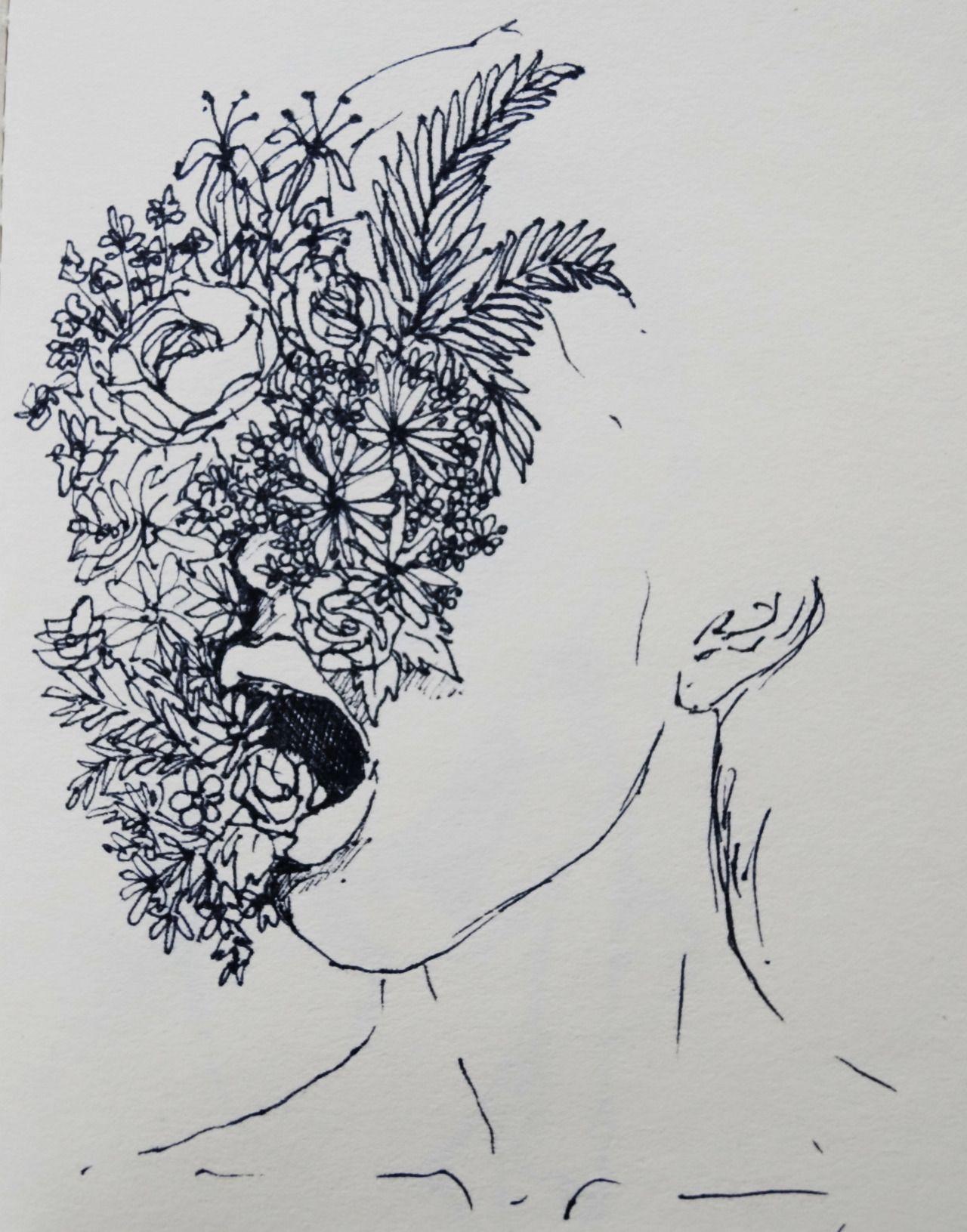 Resultado de imagem para face with flowers drawing