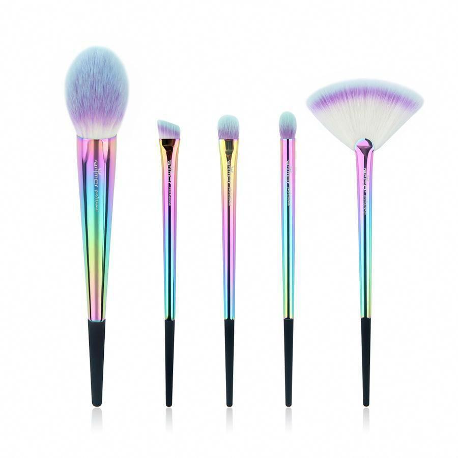 5pcs Rainbow Makeup Brush Set Iridescent Handle Makeup Brush Set Rainbow Makeup Brush Set