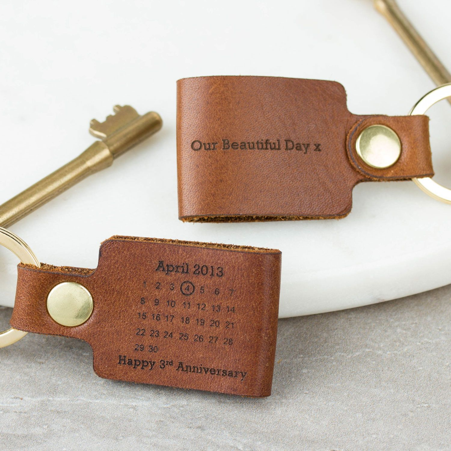 Personalised Third Wedding Anniversary Leather Keyring