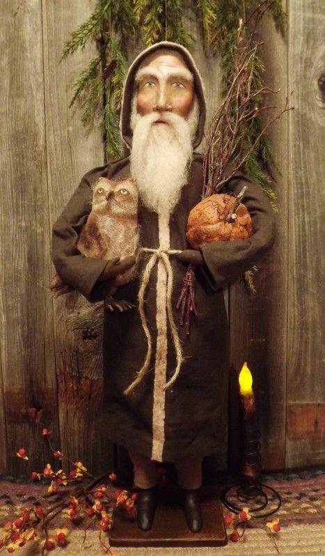 Primitive Woodsman Santa With Pumpkin And Owl Primitive
