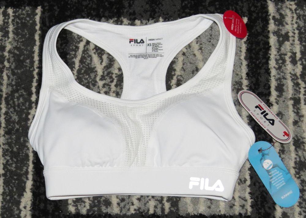 FILA Sports Bra XS White NEW NWT Padded Bust High Impact