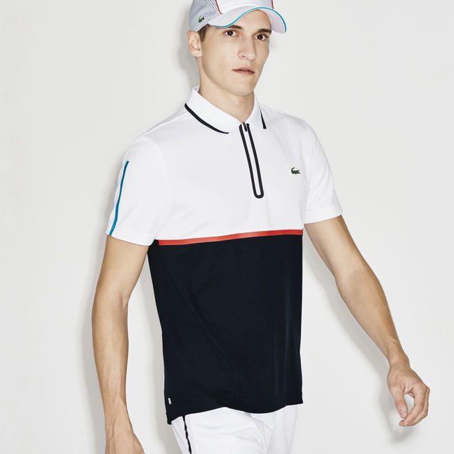 Men's SPORT Ultra Dry Zip Pique Knit Tennis Polo Shirt | LACOSTE