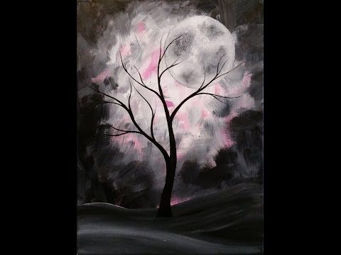 Mystical Moon Step By Step Acrylic Painting On Canvas For Beginners Expressionism Painting Acrylic Painting Canvas Watercolor Paintings For Beginners