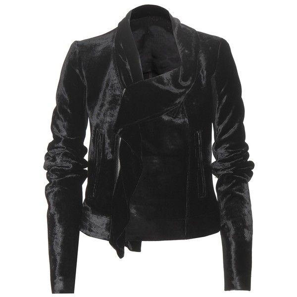 Rick Owens Velvet Biker Jacket ($1,265) ❤ liked on Polyvore featuring outerwear, jackets, black, moto jacket, biker jacket, rider jacket, rick owens and velvet jacket