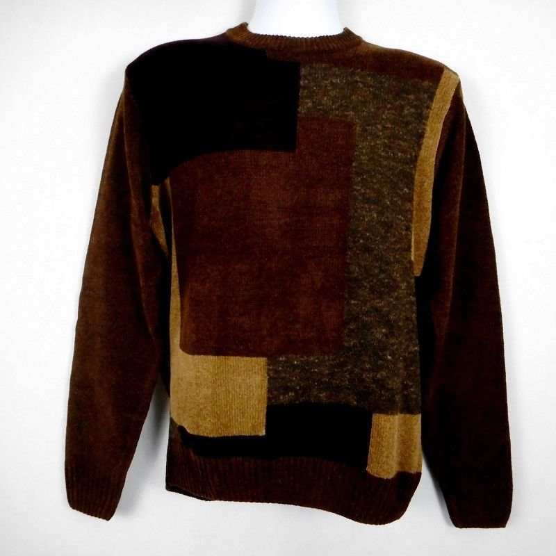 b5f780679 Dockers Mens Sweater Brown Sz S Acrylic Blend Chenille Long Sleeve ...