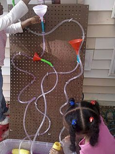 What an awesome idea for teaching water flow, gravity, and more! This blog has a ton of ideas.