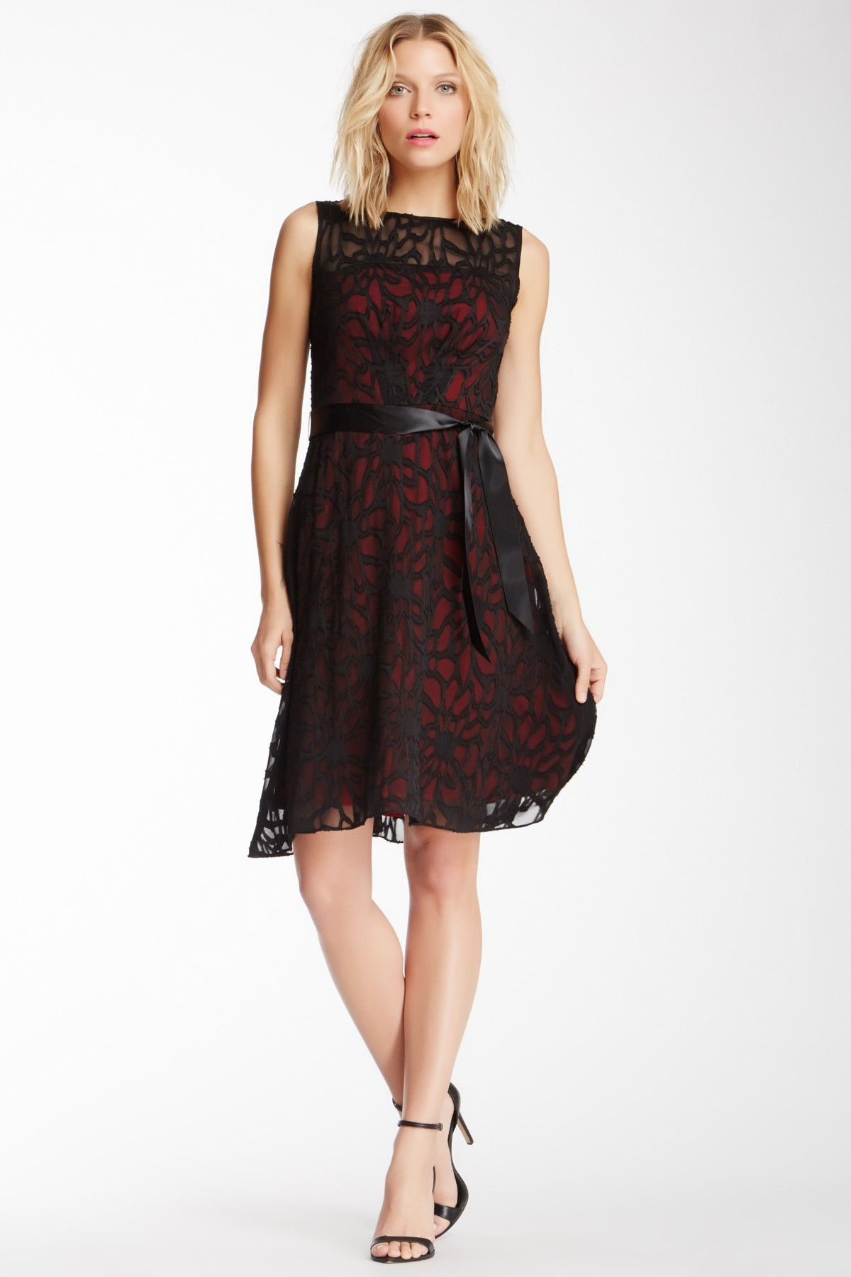 Love the red peeping through the black lace Style Me