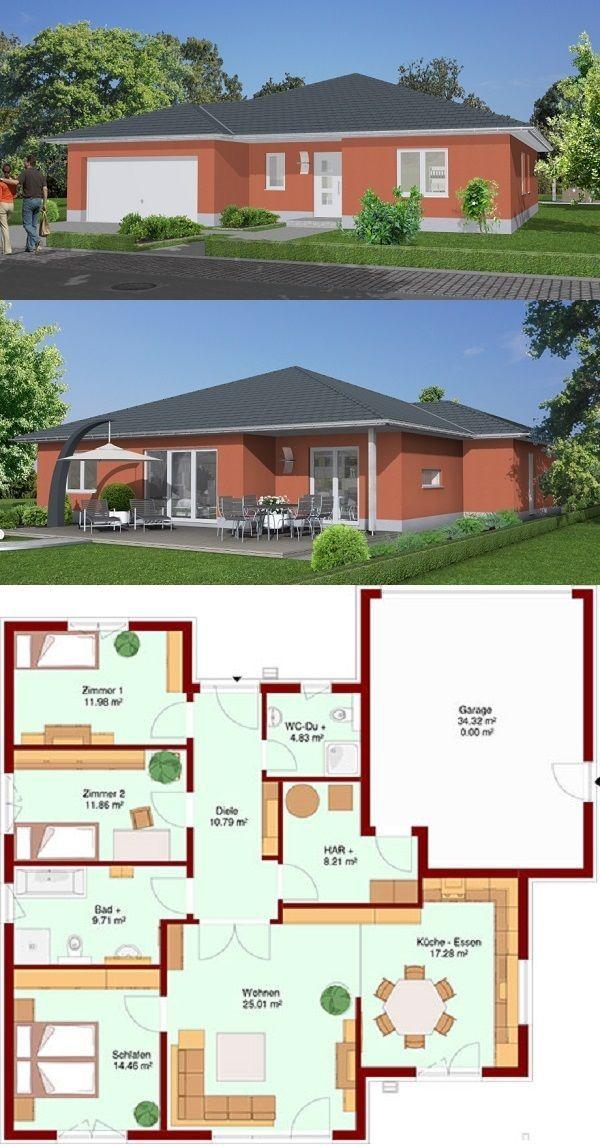 Bungalow Mare 114 Mit Garage Unser Mare 114 Verfugt Uber Einen Geraumigen Wohnbereich Eine I Landscape Architecture Design House Layouts Garage House Plans