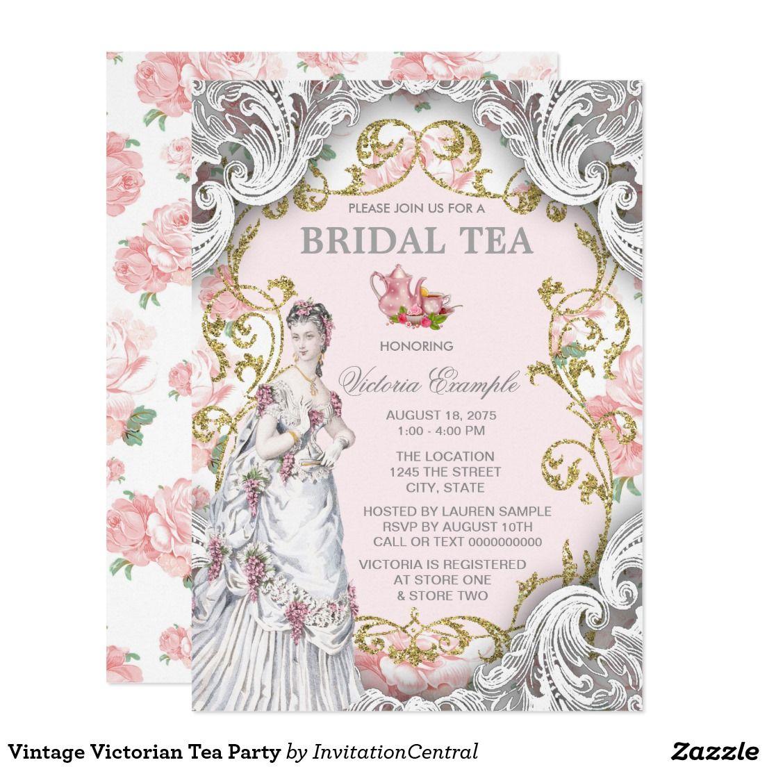Vintage Victorian Tea Party Card   Tea Party Invitiation ...
